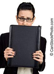 Worried - Female holding briefcase looking worried