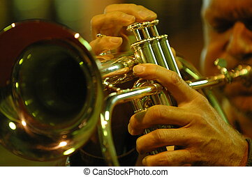 trumpet player - musician playing trumpet on stage