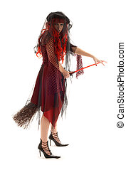 halloween witch - evil halloween witch with a broom