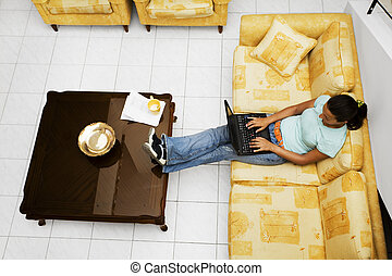 working at home - nice girl working at home
