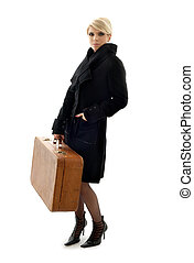 suitcase lady - attractive blond with brown suitcase
