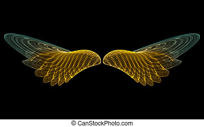 Golden angel (abstract) - 3D rendering of golden angel wings