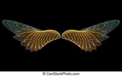 Golden angel (abstract) - 3D rendering of golden angel wings