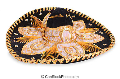 Sombrero - An isolated black sombrero with a lot of detail -...