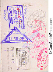 passport with stamps for background