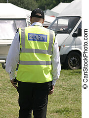security man walking around the showground