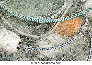 Fishing Net with White Floats - Photo of a fishing net with...