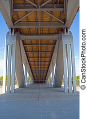 Simone de Beauvoir bridge - Low-angle view of the Simone de...