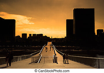 Simone de Beauvoir bridge - Sunset on the Simone de Beauvoir...