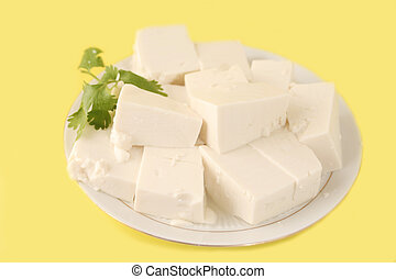 vegetarian tofu - plateful of cut up vegetarian tofu with...