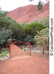 Ayers Rock - The pathway to the Mala Walk on the famous...