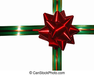 Happy holiday, white background - Merry Christmas, bow on a...
