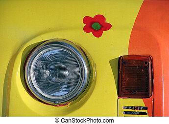 Flower Power Car - Vintage Volkswagen beetle with 60ies...