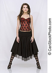 brunette wearing spanish dress - beautiful brunette wearing...