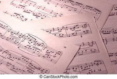 Sheet Music - Photo of Pages of Sheet Music with Color and...