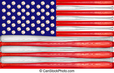 Baseball US Flag - US Flag made with baseball bats and balls