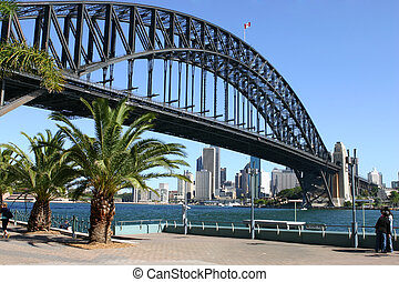 Sydney and Sydney Harbour Bridge - View of Sydney Harbour,...