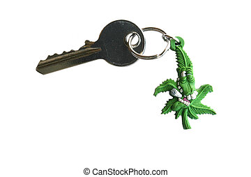 Key with a chain on white