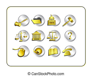 Legal Icon Set with clipping paths - Legal Icon Set Digital...