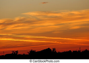 Sunrise Jet Trails - Red sky at morning - sailor take...