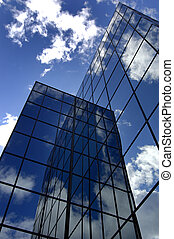 Office Building with Sky and Clouds