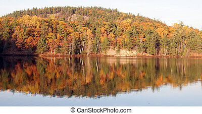 Autumn Lake reflection in Quebec