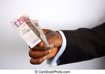 For the Cab! - This is an image of a businessman\\\'s hand...