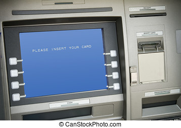 atm machine,screen says please insert your card