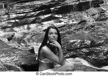 b&w woman in nature