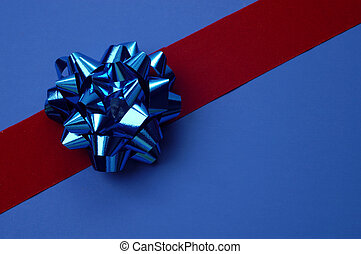 Blue Bow Gift Wrap - Blue bow red ribbon gift wrapping...