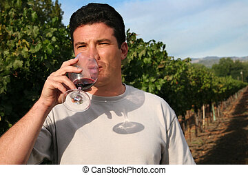 Wine tasting - Young man standing at vineyard