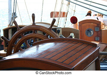 Ship\\\'s Wheel - Wooden steering wheel of a replica packet...