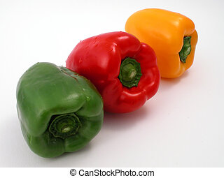 Fresh peppers on a white background