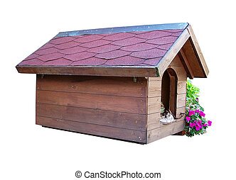 doghouse out wood with flowers