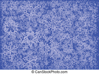 Snow flakes background in blue and white.