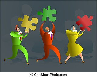 puzzle team - team of executives carrying puzzle pieces -...