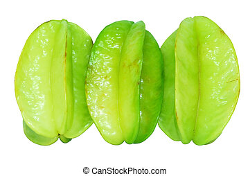 starfruit - Green Star Fruits isolated on white