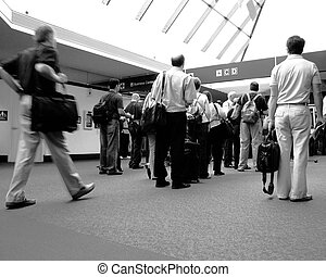 Waiting in line - Waiting in Line at the airport with...