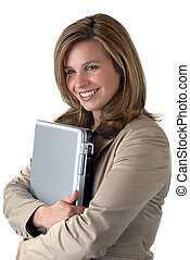 Business Woman - Young Business Woman Holding A Laptop
