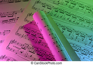 Sheetmusic - Photo of Sheetmusic with Color Gel Lighting