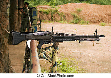 Loaded Machine Gun - A M-60 machine gun, loaded with live...