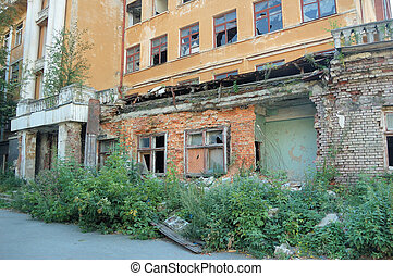 old ruin building structure Yekaterinburg, Russia