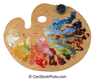Artists Palette - Artists palette with oil colors and...
