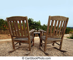 Winery - Two chairs at vineyard, Napa valley