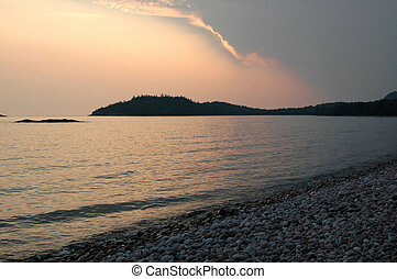 Lake Superior Sunset - Sunset and Lake Superior Shoreline