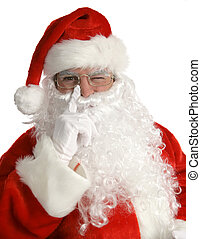 Santa Winks - Santa laying his finger aside of his nose and...