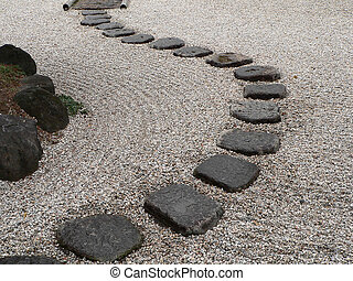 japanese stone garde - stone way in japanese stone garden,...