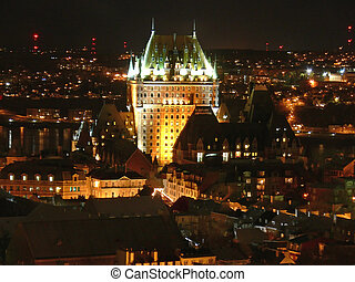 Chateau Frontenac at Night - Night view of Chateau...