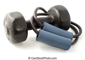 exercise equipment - elastic exercise band and hand weight...