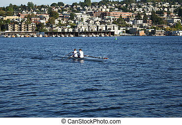 rowers on lake union Seattle